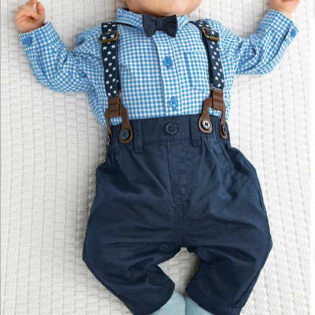Outfits  Baby Boy Autumn Plaid Shirt Suspender Pants Formal Wedding Outfits