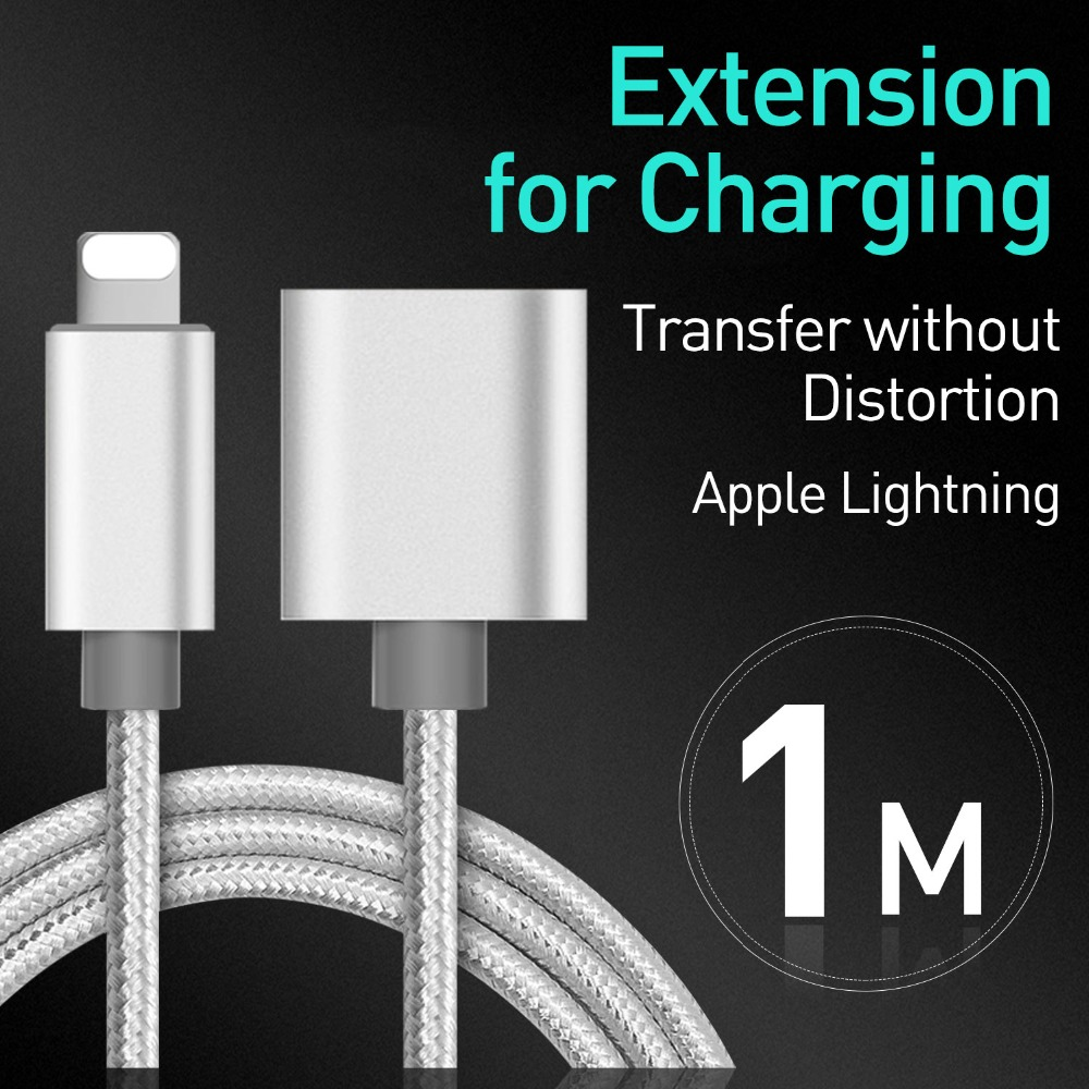 lowest price 8Pin Interface Extension Cable 1m Male to Female Extender For iPhone iPad Mini iPod Charging Adapter Passing Audio Video Data