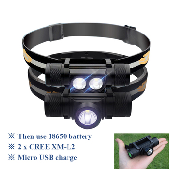цена на led headlamp USB headlight cree xm l2 Head flashlight torch led head light waterproof 18650 rechargeable battery camping light