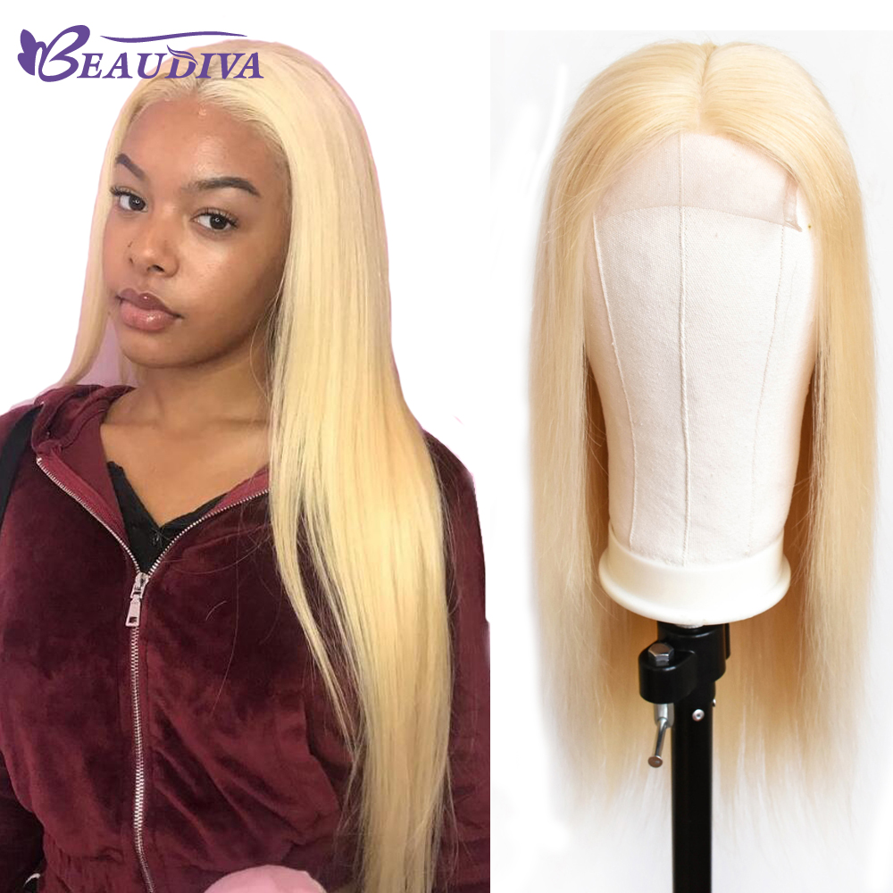 Malaysian 613 Blonde Lace Front Human Hair Wigs With Baby Hair Pre Plucked Remy Straight 4