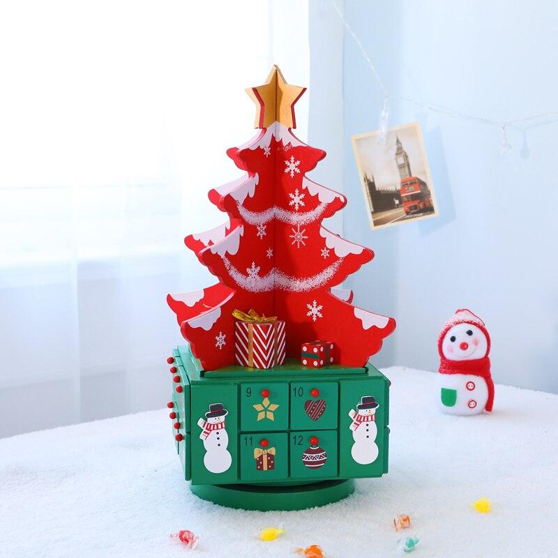 Рождественская елка с ящиком, Рождественское украшение, креативная Деревянная Рождественская елка, хранение конфет для X'mas календаря, подс... - 2