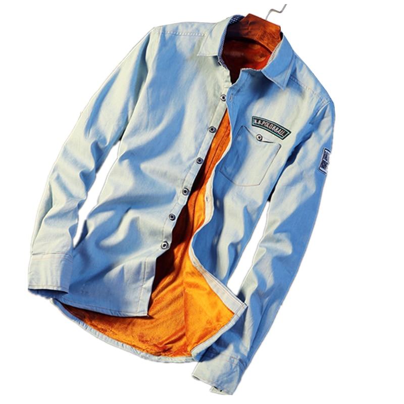 fab931662cf 2019 autumn winter fashion new men s casual long sleeve plush wool warm  shirt   male slim