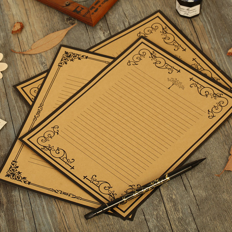 16 Sheet/lot JWHCJ Lucky Tree Flower Lace Vintage Kraft Paper Kawaii Letter Paper Letter Pad Writing Paper Office&School Supplie
