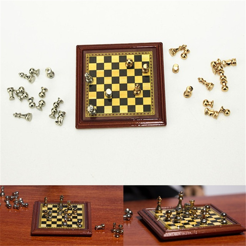 1:12 Scale Dollhouse Miniature Metal Chess Set Board Toys Home Room Dollhouse Accessories Toy Set For Children Kids