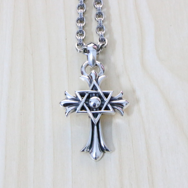 925 Sterling Silver Hexagram Pendant Male Retro Fashion Fashion Cross Bracelet Sweater Chain Clavicle
