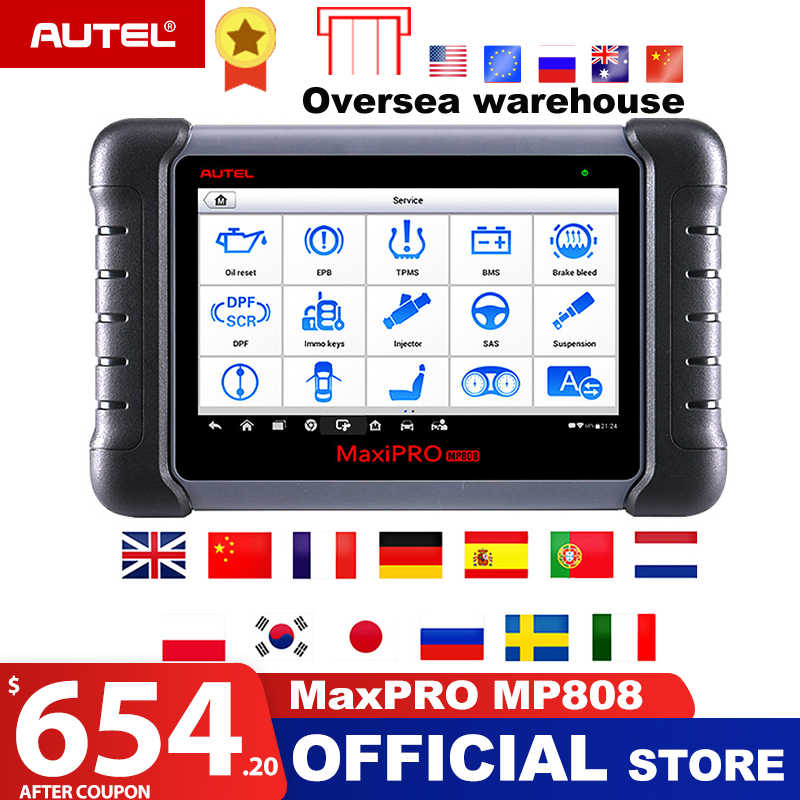 Autel MaxiPRO MP808 OBD2 Scanner Car Diagnostic Tool OBDII OE-level Bi-directional Control key programmer Code Reader PK DS808
