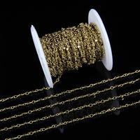 真鍮メッキワイヤー包まれたゴールドヘマタイトストーンファセットビーズチェーン3ミリメートルキューブビーズネックレスロザリオチェーン