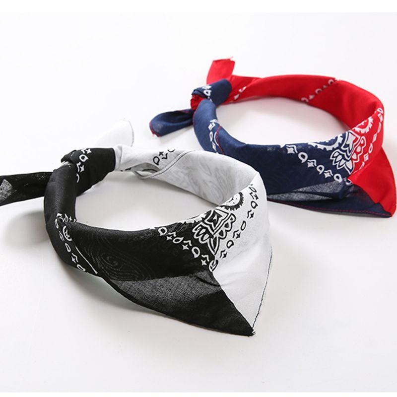 Bohemian Paisley Floral Double Color Block 50x50CM Unisex Cotton Pocket Square Scarf Headband Bandana Hip-Hop Wristband Neck Tie