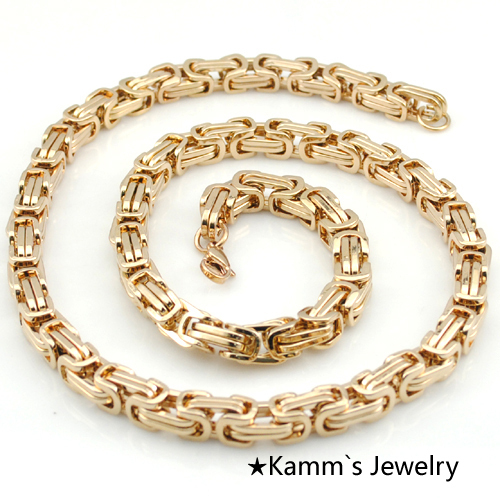 2017 Customized 9mm Rose Gold 2 Tone 316 Stainless Steel Necklace Byzantine Box Mens Boys Chain Necklace Wholesale Jewelry KN050