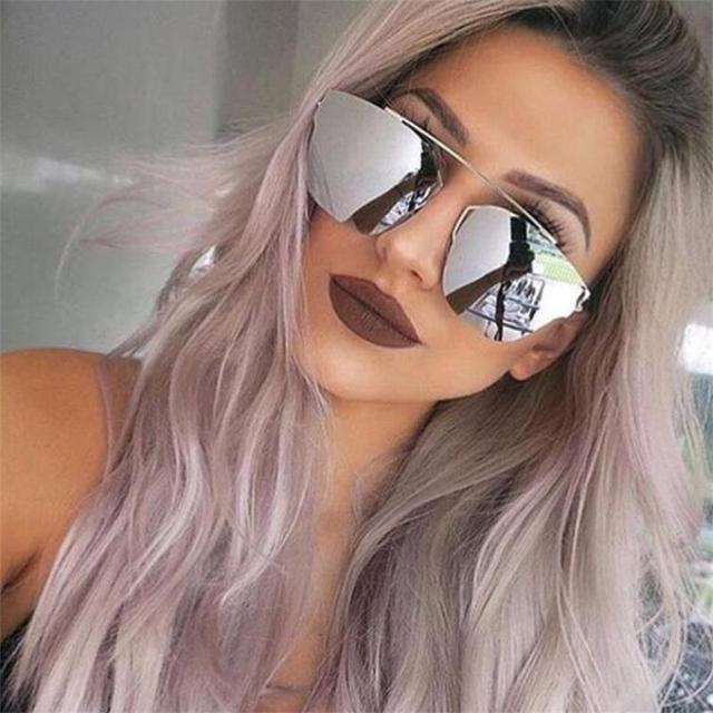 Miroir rose or lunettes de Soleil femmes de mode nuances argent métal  populaire Aviator lunettes de b1b4a6c95fe9