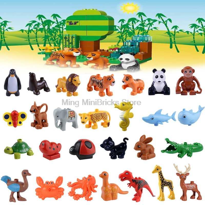 Legoing Duplo животных, животных, зоо, тигр, панда, олень, слон, Пингвин DIY, строительные блоки, большие детальки в форме кирпичиков, детская игрушка, совместимая с Legoings