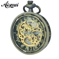 2017 Luxury Vintage Bronze Open Face Copper Case Men Mechanical Pocket Watch With Chain High Quality