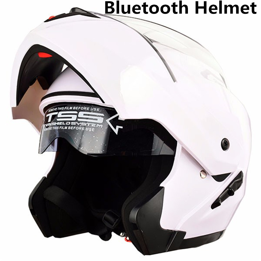 flip up motorcycle helmet double lense full face helmet Casco Racing Capacete with inner sun visor bluetooth headset in up to date dot approved double lens flip up motorcycle helmet casco racing capacete with inner sun visor matte black