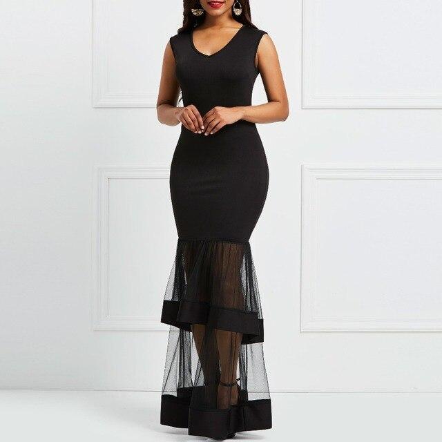 7f1b3e08c488 Mulheres Sexy Vestido de Verão 2019 Da Sereia Preto Sem Alças Mangas Malha  Simples Elegante da Festa Patchwork Longo Maxi Dress