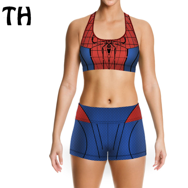 2016 Spider Man Print Push Up Bra Set Croset Tank Top + Fitness Shorts 2 Piece Outfits Women Tracksuit Set #160577