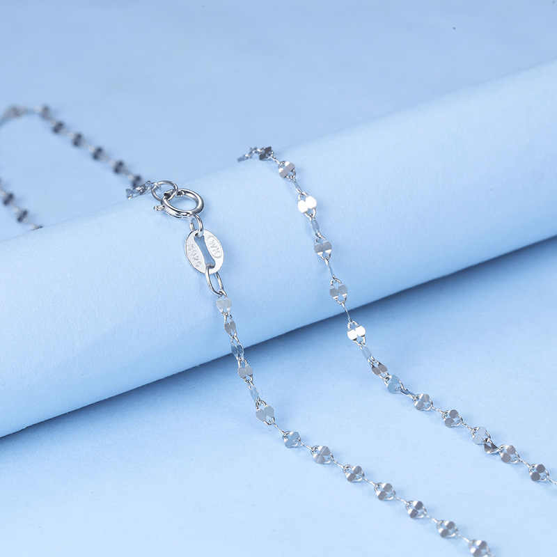 Milk vetch Female Chain 0.9 gram 2.0mm 40CM 16 Inches length White Gold Color Solid 925 Sterling Silver Chain Necklace