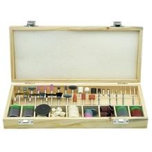 цены 200Pcs/Set Abrasive Tool Mini Wooden Box Rotary Tool Accessory Bit Set For Dremel Tool Grinding Accessories Kit