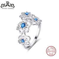 Риннтин 100% подлинное серебро 925 пробы женские кольца зубец Установка AAA кубический циркон в форме цветка модное кольцо ювелирные изделия TSR91