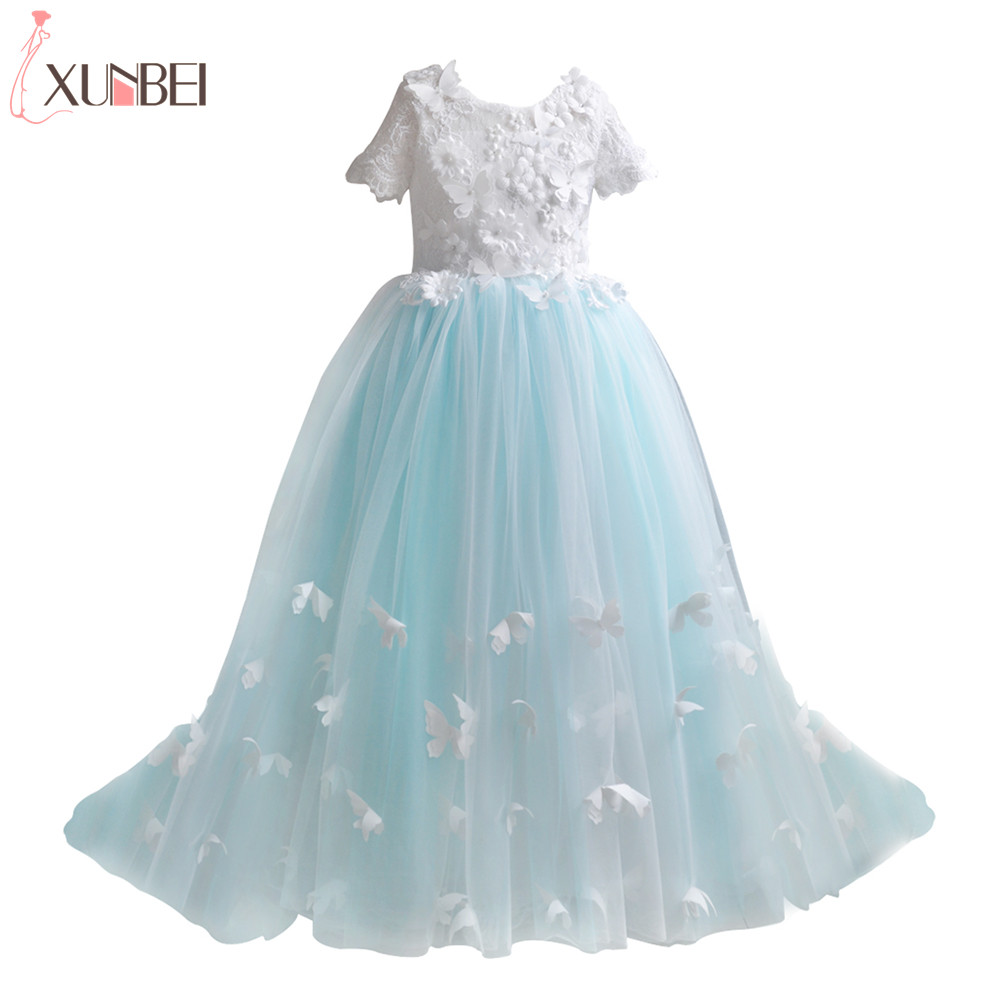 Real Photo Ball Gown Butterfly   Flower     Girl     Dresses   2019 Lace Appliques Pageant   Dresses   For   Girls   Lace Communion Princess   Dress