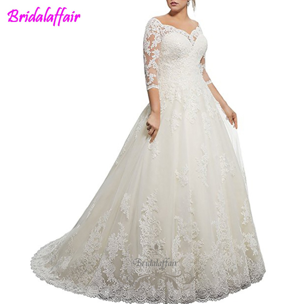 Bridalaffair Real Mermaid Wedding Dresses Lace Applique