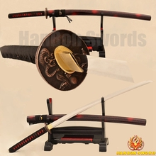 Full Tang 9260 Spring Steel Katana Samurai Japanese Sword Monster Alloy Tsuba Full Tang No- Hi Blade Very Sharp For Sale Custom