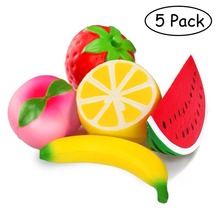 5PCS  Jumbo Squishies Slow Rising Strawberry Watermelon Banana Peach Lemon Fruit Kawaii Hand Wrist Toy