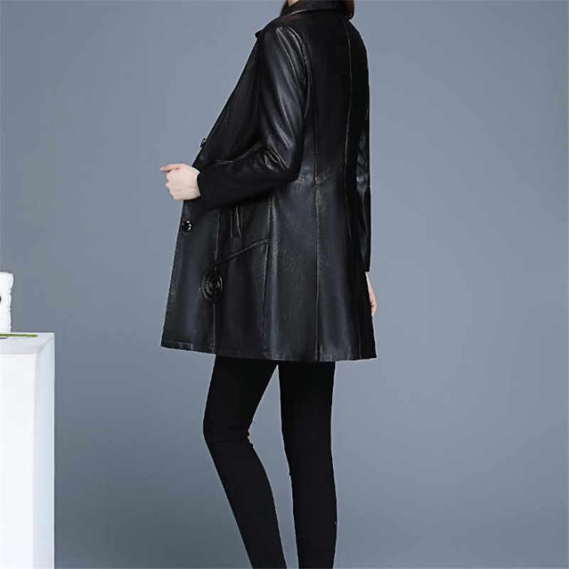 革のジャケットの女性ワイン赤ロング Pu レザーコート 2019 新秋冬韓国スリム黒 XL-6XL プラスサイズ服 LR247