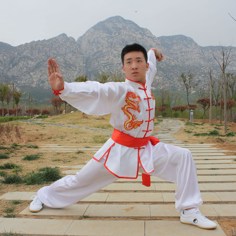 USHINE HX09 White Double Dragon Traditional Chinese Tai Chi Clothing Long-sleeve KungFu Uniforms Wushu TaiChi Martial Arts Suit