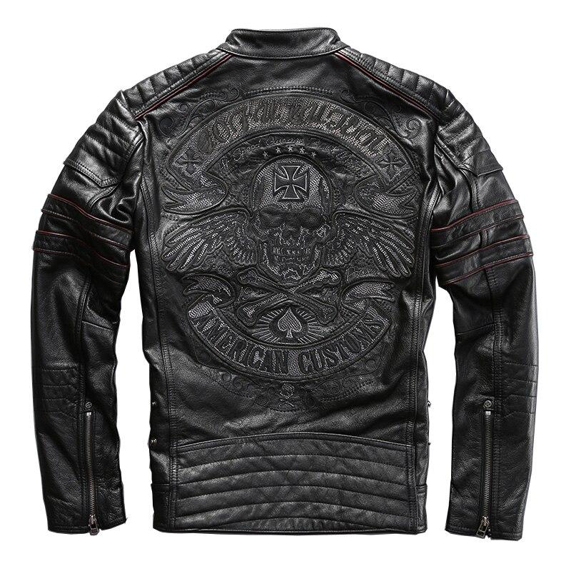 HARLEY DAMSON สีดำผู้ชายเย็บปักถักร้อย Biker เสื้อหนังเสื้อแจ็คเก็ต Plus ขนาด XXXXL ของแท้ Cowhide หนารัสเซียหนัง-ใน เสื้อโค้ทหนังแท้ จาก เสื้อผ้าผู้ชาย บน   1