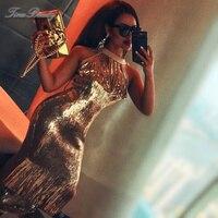 Tina Beauty Golden Sequin Tassel Party Long Sexy Dress Glitter Elegant Halter Women's Vintage Dresses Formal For Prom Nightclub