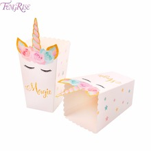 FENGRISE Unicorn Gift Bag Candy Box Paper Popcorn Box Goodie Bags Baby Shower Favors Unicorn Party Gifts Box Gift Bags Wrapping цена и фото