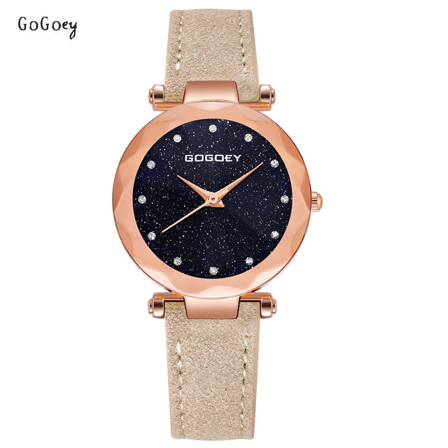 Fashion Gogoey Brand Rose Gold Leather Watches Women ladies casual dress quartz
