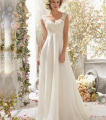 9054 2015 Beads White Ivory Wedding Dresses with train lace short sleeve for brides plus size maxi formal size 2-28W