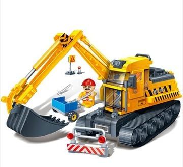 Banbao 8536 City Construction Shovel Excavator Car 262 pcs Plastic Model Building Block Set DIY Bricks Toys Educational Toys ksb metal construction toys metal model assembly puzzle building block set construction vehicle
