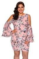 Sexy Koude schouder korte jurk Bloemenprint Plus Size Jurk Bell vlinder Volledige Mouw X 2X 3X mini jurk chiffon lange mouwen