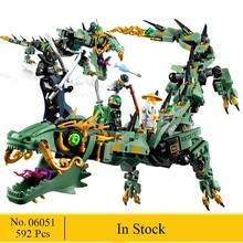 NOVA 592 pcs Voador mecha Dragão Modelo de Blocos de Construção Brinquedos Educativos Para Crianças 06051 Ninja Tijolo Set Compatível 70612