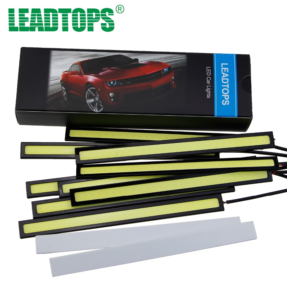 LEADTOPS 10pcs 17CM LED COB DRL Daytime Running Light For Cars LED External Lights Waterproof 12V  Led Car Styling Auto Light FJ leadtops 2pcs waterproof cob chip led daytime running light 14 17cm led drl fog car lights car day external lights bc