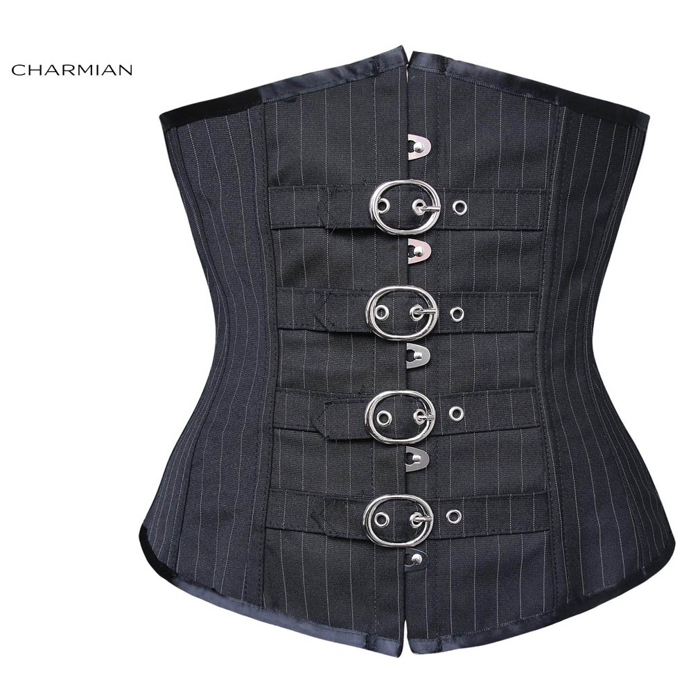 547bf9e4bc1 Charmian Women s Sexy Underbust Corset Faux Leather Black Body ...