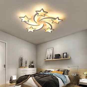 IRALAN modern led chandelier art deco room indoor lamp white star for living room dining room bedroom kid\'s room kitchen remote