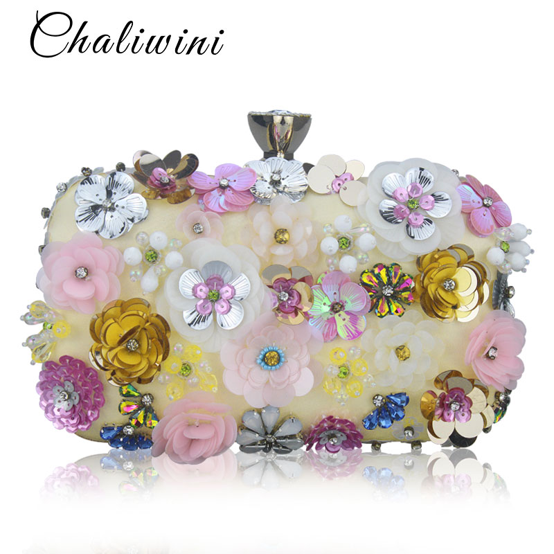 Colorful Flower Flap Pocket Women Evening Dinner Party Bag Box Shoulder Female Day Package Weeding Handbag Clutch Purse