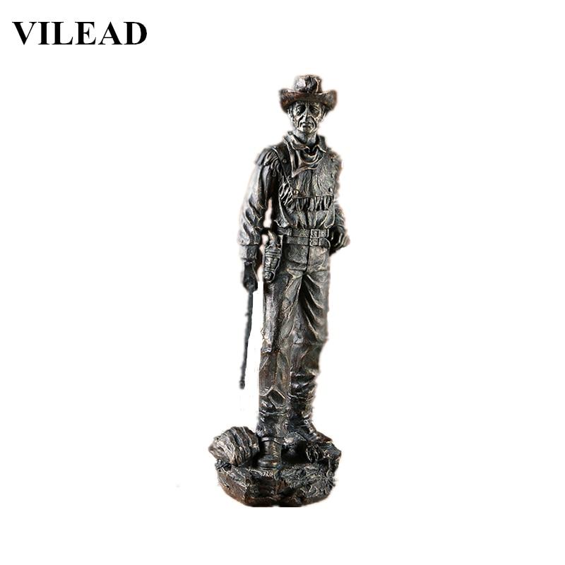 VILEAD 20'' Resin American West Cowboy Figurine Black Modern Cowboy with Gun Statue Vintage Home Decor Creative Sculpture Gift