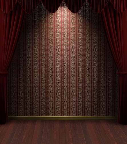 Red Curtain Vinyl Cloth Retro Wallpaper Stage Wood Floor Photography