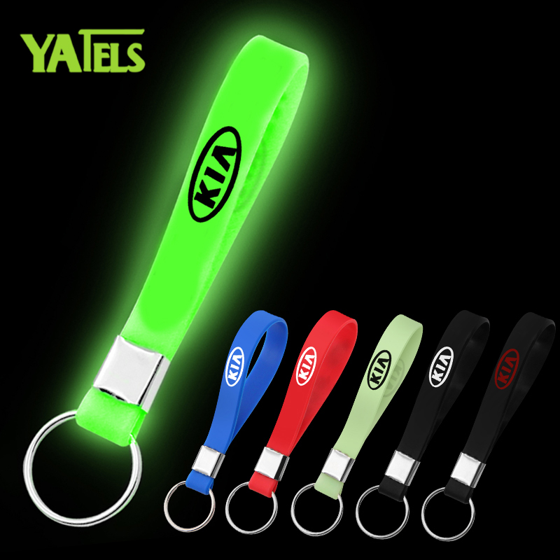 Excellent Car Sticker Luminous Silicone Emblem Badge Car Key Ring For Kia K2 K3 K5 Sorento Sportage R Rio Soul Car Styling