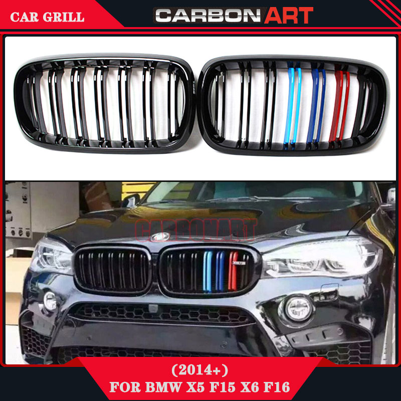 X5 X6 M Performance Sport design Tri-color front Grill Fit for BMW 2015 2016 F15 F16 SUV x5 x6 m performance sport design m color front grill dual slat kidney custom auto grille fit for bmw 2015 2016 f15 f16 suv