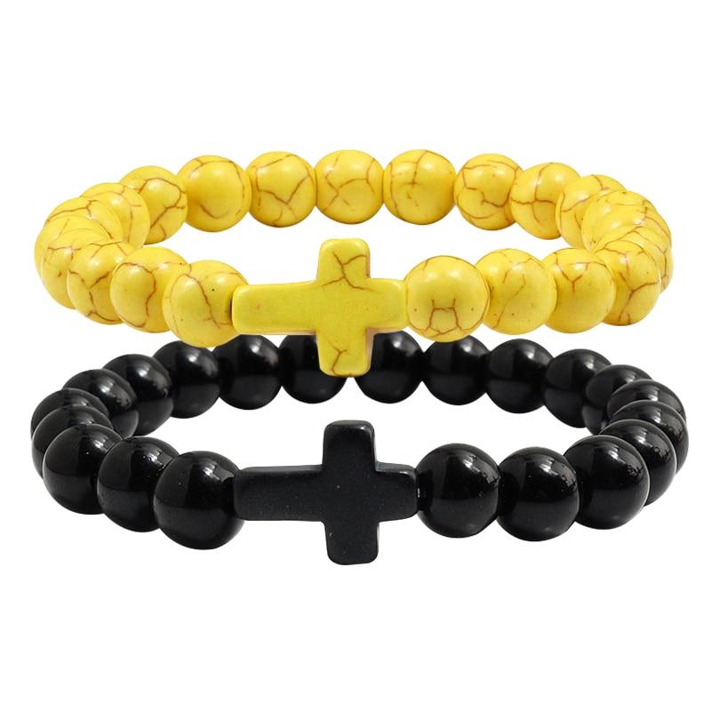 Trendy Mens Black Bracelet Natural Stone Yellow Turquoises Beaded Handchain Jesus Cross Bangles Women Jewelery Lover Accessories