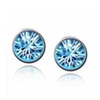 High Quality Elegant and Charming Ocean Blue   Round Earrings for Women Girls Piercing JewelryA31