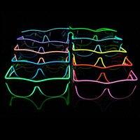 DHL Бесплатная доставка 500 компл./лот EL очки EL провода моды Неоновый светодио дный свет затвор в форме очки Rave фестиваль Вечерние декоративные