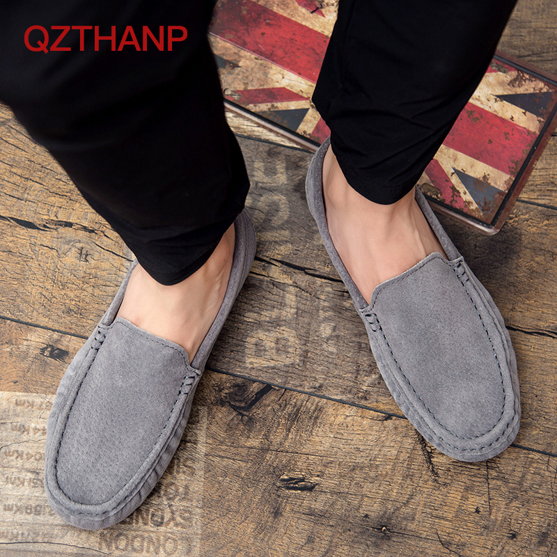 QZTHANP 2018 New Casual Brand Big Size Cow   Suede     Leather   Men Flats   Leather   Men Male Adult Shoes Breathable Shoes High Quality