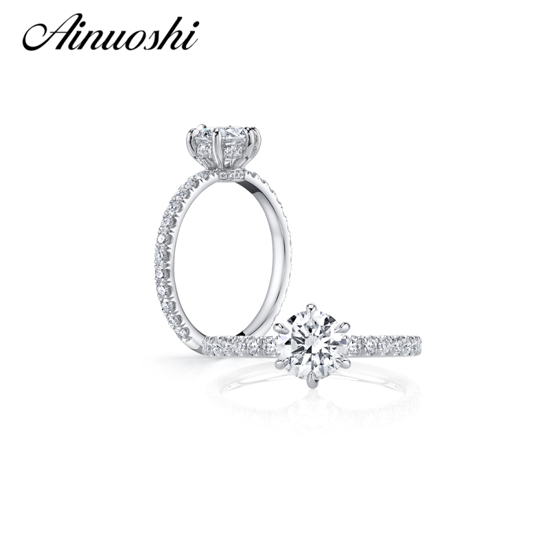 AINUOSHI 1 Carat Round Cut Sona Women Engagement Rings 925 Sterling Silver Wedding Anniversary Rings Christmas