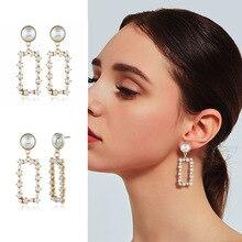 2019 Pearl earrings Geometric square round heart drop earrings for women fashion jewelry Hollow earrings цена и фото